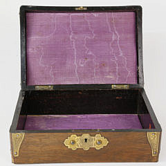 English Rosewood Brass Bound Jewelry Box, 19th century