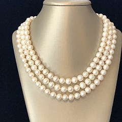 White Fresh Water Pearl Triple Strand Necklace