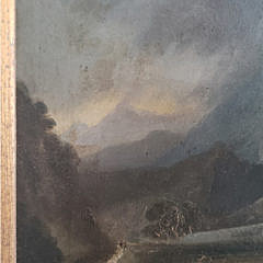 "Hudson River School Oil on Board  ""General Wade's Bridge"", 19th Century"