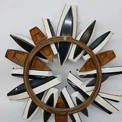 Maralyn Menghini Contemporary Carved Wood Dory and Dinghy Wreath