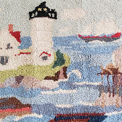 "Vintage Claire Murray Hooked Rug, ""Coastal Fisherman"""