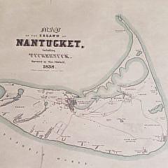 Vintage Map of Nantucket 1838 Reprint