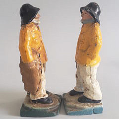 Pair of Vintage Cast Iron Old Salt Fisherman Doorstops