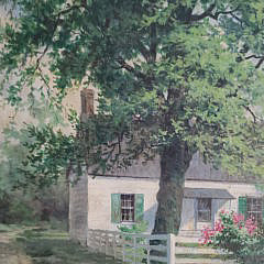 "Halsey Kent Oil on Artist Board ""Island Cottage"""