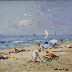 """Pair of Nicolaas (Niek) Van der Plas Oila on Boards """"Sunbathers"""""""