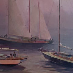 "Christopher Bonelli Oil on Canvas, ""In The Mist of Sailing"""