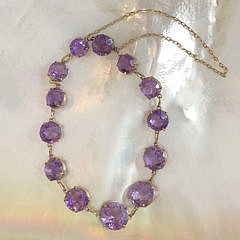 Victorian Amethyst Bracelet Set with 13 Round Faceted Amethyst Stones