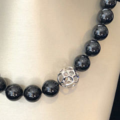 Tiffany & Co. 18k White Gold and 14.5mm Black Onyx Bead Necklace