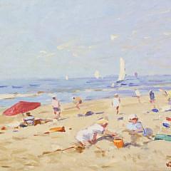 """Nicolaas (Niek) Van der Plas Oil on Board """"Beach Scene"""""""