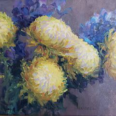 "Pamela Pindell Oil on Canvas ""Chrysanthemum Still Life"", 20th Century"