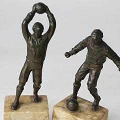 Pair of German Patina Metal Soccer Players