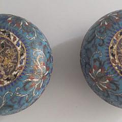 Two Antique Cloisonné Covered Bowls