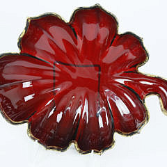 Pair of Continental Ruby and Gilt Glass Deep Leaf Dishes, 19th century