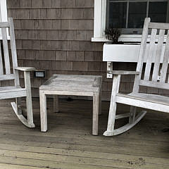 Pair of Outdoor Teak Wood Rocking Chairs and Cocktail Table