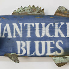 "Carved and Painted ""Nantucket Blues"" Bluefish Sign"