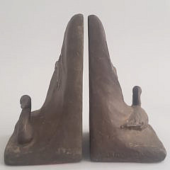 Pair of William B. Tallman Patina Metal Duck Bookends