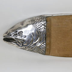 Silver Plate and Wood Salmon Cutting Board