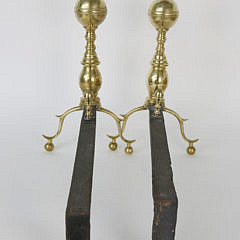Pair of Brass Boston Ball Top Andirons, 19th Century