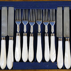 George Angell Boxed Set of 12 Sterling Silver and Mother of Pearl Knives and Forks, circa 1861