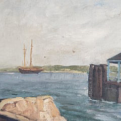 Vintage Oil on Artist Board Nantucket Island Service Wharf