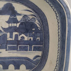19th Century Chinese Canton Blue and White Deep Dish Platter