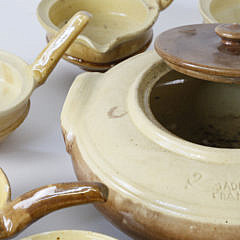 French Pottery Covered Tureen and 12 Porringers