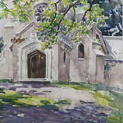 """William Lester Stevens Watercolor """"View of a Western Massachusetts Church"""""""
