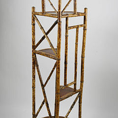 Bamboo Lacquered and Brass Cap Corner Stand, 19th Century
