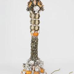 Contemporary Seashell Encrusted Column Lamp