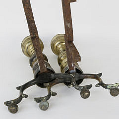 Pair of 19th Century Brass Urn and Finial Andirons