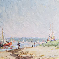 "Jan Pawlowski Oil on Canvas ""Brant Point Nantucket"""