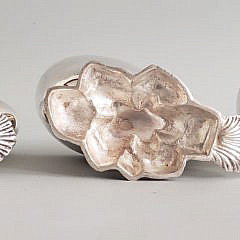 Three Silver Plated Shell Form Spoon Warmers, 19th Century
