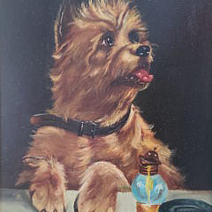 Oil on Board Portrait of a Yorkshire Terrier, 19th Century
