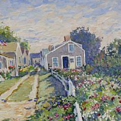 """William Welch Oil on Linen """"Flowered Walk in 'Sconset"""""""