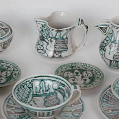 Vascellari Orvieto Decorated Ceramic Tea Set