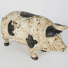 Contemporary Cast Iron Painted Garden Pig