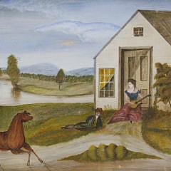 """Folk Art Landscape Mixed Media on Paper, """"Horse Serenade"""""""