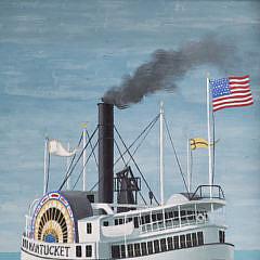 """Paul Crosthwaite Tempera on Board, """"Nantucket Side-Wheeler"""""""