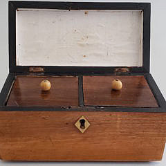 Antique Satinwood Shell Inlaid Double Compartment Tea Caddy