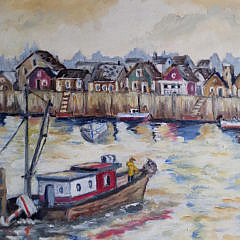 """H. Bratches Oil on Canvas, """"Nantucket Harbor"""""""