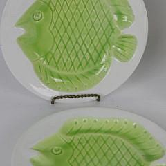 Set of Six Italian Ceramic Fish Embossed Plates