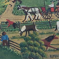 """E. Melvin Bolstad Oil on Artist's Board Folk Art Painting, """"Farm Home Auction"""""""
