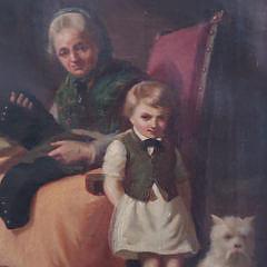 "19th Century Oil on Canvas Dutch Interior Scene ""Mending the Pants"""