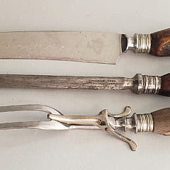 Antique English Three Piece Sterling Silver and Antler Carving Set