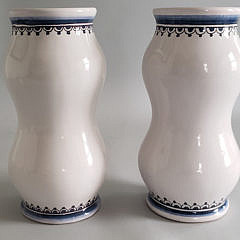 Pair of Vintage Portuguese Coat of Arms Decorated Vases