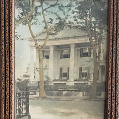 Vintage Diminutive Trumeau Mirror With Nantucket Colored Photo of 94 Main Street