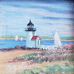 "Greg Hill Miniature Oil on Board ""Brant Point Light – Nantucket"""