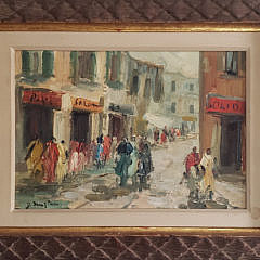 126-1946 Italian Port Painting A