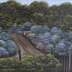 """Gerry Von Trier Oil on Masonite, """"The Lake"""""""