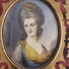 19th Century French Miniature Portrait of a Woman